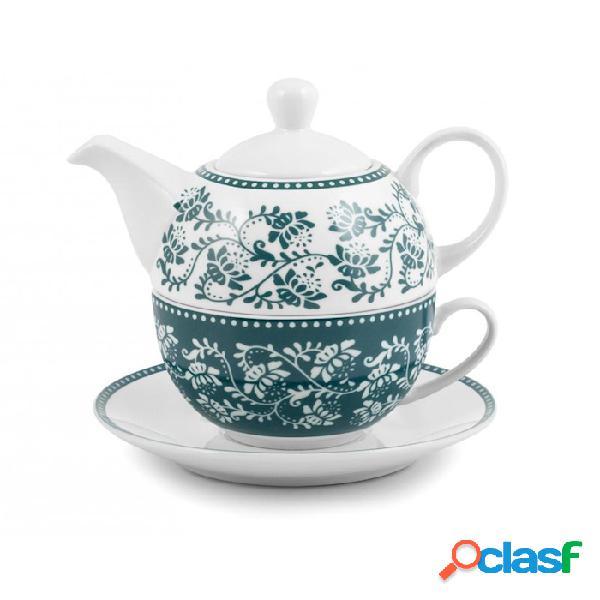 Teiera tea for one grace in porcellana verde e bianca - fantasia