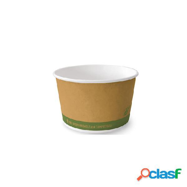 Coppa gelato biodegradabile bioplast in cartone di cellulosa marrone cl 39 - carta