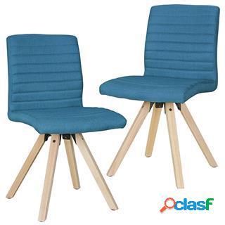 Lotto da 2 sedie ospiti malik, struttura in legno, seduta in tessuto blu petrolio
