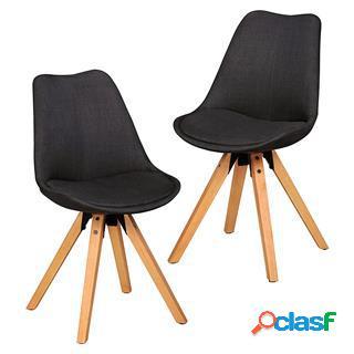 Lotto da 2 sedie ospiti karima, struttura in legno, seduta in tessuto antracite
