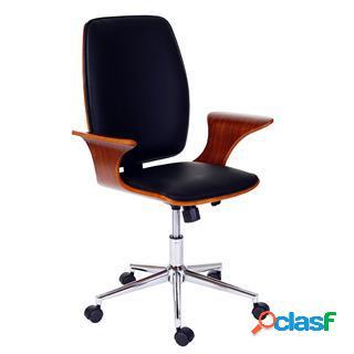 Sedia da ufficio saturno, design in legno e pelle color nero
