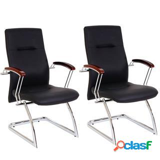 Lotto di 2 sedie per conferenza e attesa grisi, struttura in metallo e braccioli in legno, imbottite, pelle nera