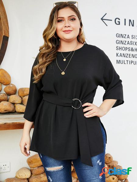 Yoins plus taglia black cintura camicetta di design