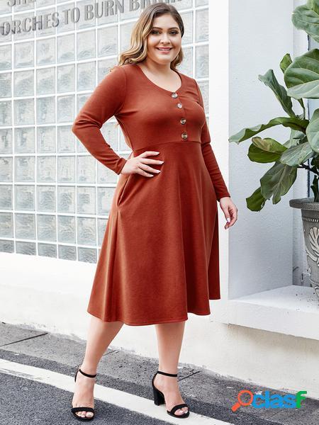 Yoins plus abito con bottoni arancione taglia
