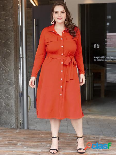 Yoins plus taglia arancione con abito con colletto alla coreana cintura