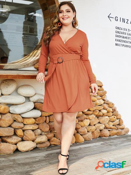 Yoins plus taglia arancione con cintura abito avvolgente