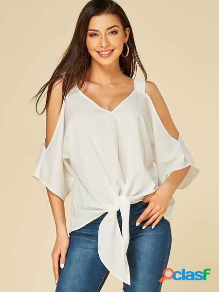 Yoins camicetta a spalla fredda con design allacciato bianco