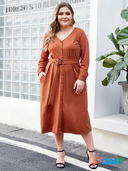 Yoins plus taglia arancione scuro con cintura v collo abito a maniche lunghe