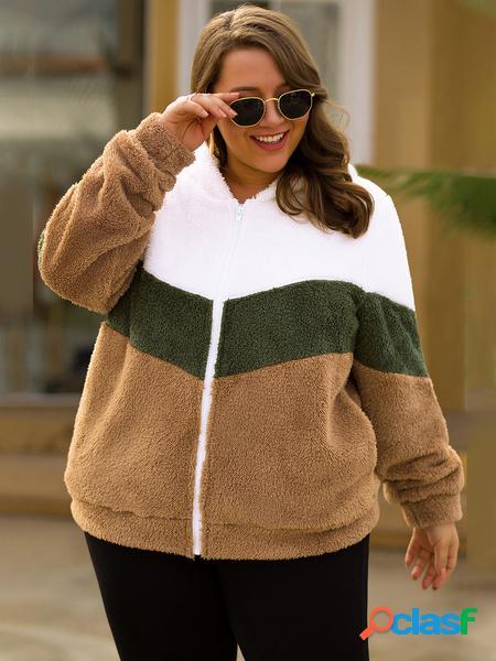 Yoins plus taglia cappotto con cappuccio a blocchi di colore marrone
