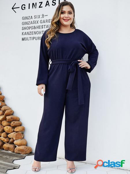 Yoins plus taglia navy cintura tuta di design