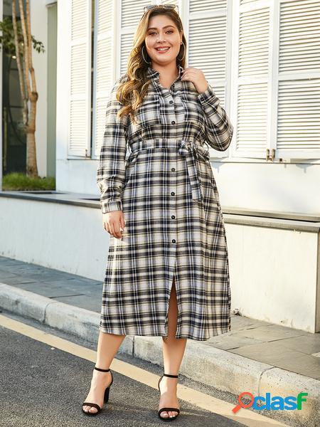Yoins plus taglia navy cintura abito scozzese di design