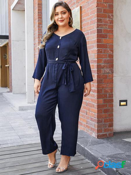 Yoins plus taglia navy cintura tuta con scollo a v di design