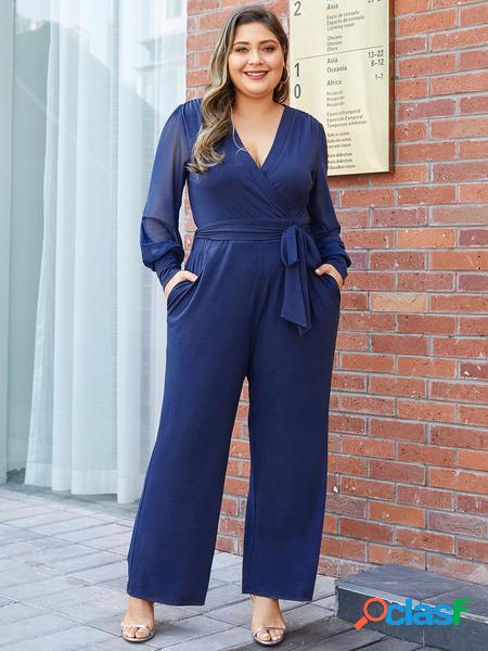 Yoins plus taglia navy cintura tuta in rete con scollo a v design