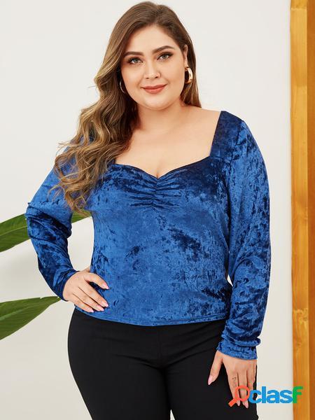 Yoins plus taglia blue square collo t-shirt a maniche lunghe in velluto