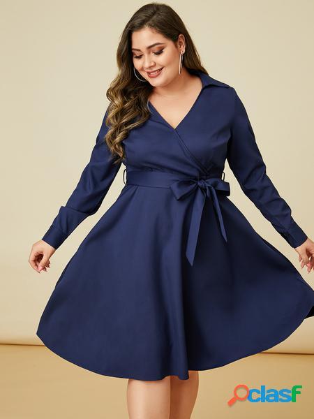 Yoins plus taglia navy cintura abito a maniche lunghe con scollo a v design