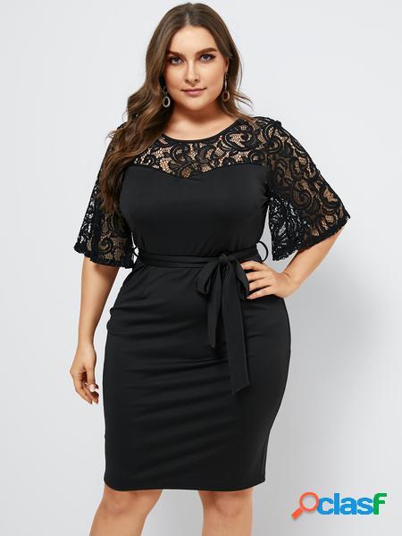 Yoins plus taglia black lace cintura abito a maniche corte di design