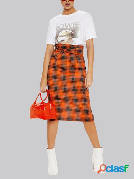 Yoins arancione cintura gonna scozzese a vita alta di design