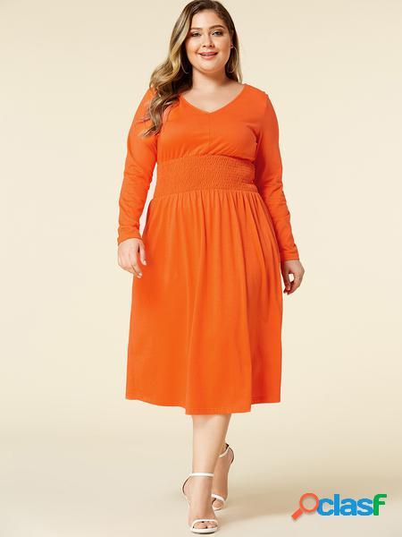 Yoins plus abito a maniche lunghe arricciato con scollo a v arancione taglia