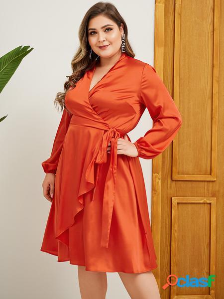 Yoins plus taglia arancione cintura abito a maniche lunghe di design