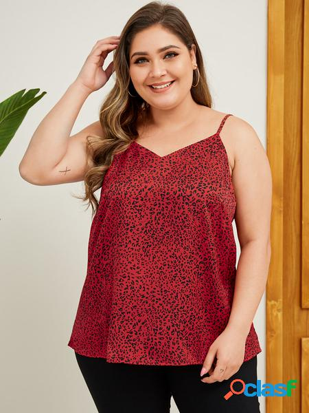 Yoins plus cami red animal satin taglia
