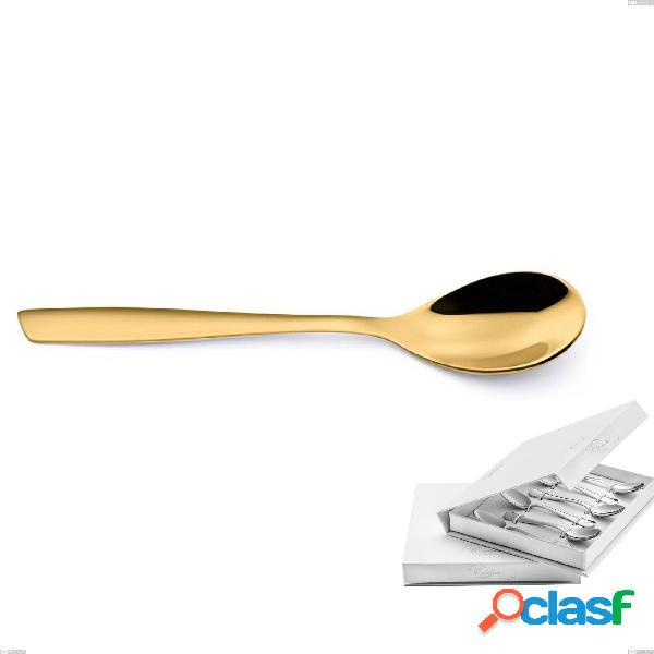 Confezione a libro 6 pezzi cucchiaino moka eleven pvd gold, acciaio 18/10 lucido, spessore 2.5 mm, pvd oro