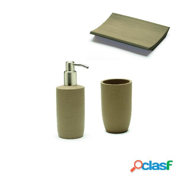 Dispenser + bicchiere + portasapone + sabbia realizzati in resina particolari in acciaio