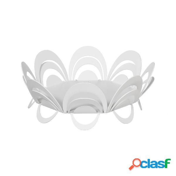 Centro tavola moderno piccolo origami in metallo, d.27x11h, colore bianco neve