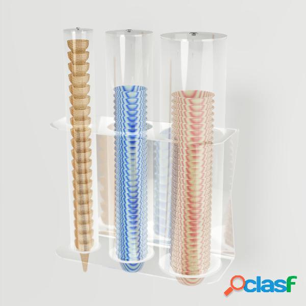 Porta coni e coppette gelato a 3 file da parete 1 fila coni 2 file coppette 38,4xh50 cm colore trasparente