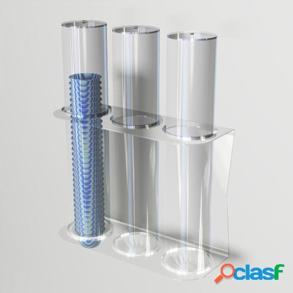 Porta coppette per gelato da parete 3 file 38,2xh50 cm - ø 9,4 cm con valvola ferma coppette in silicone colore trasparente