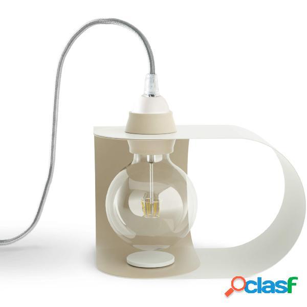 Lampada da tavolo pivot in acciaio verniciato, dimensioni 46x23xh 22 cm - attacco e 27, colore bianco cashmere