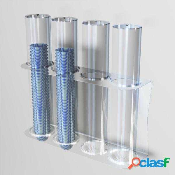 Porta coppette per gelato da parete 4 file 49,6xh50 cm - ø 9,4 cm con valvola ferma coppette in silicone colore trasparente