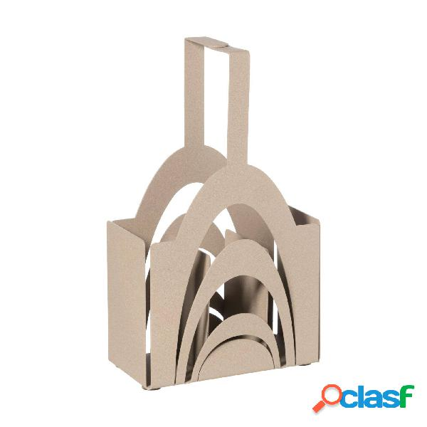 Porta posate di design moderno origami in metallo, 8x16x25h, colore beige