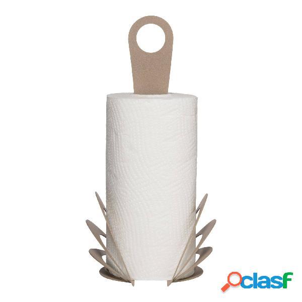 Porta rotoli di design moderno origami in metallo, diam.15x33h, colore beige