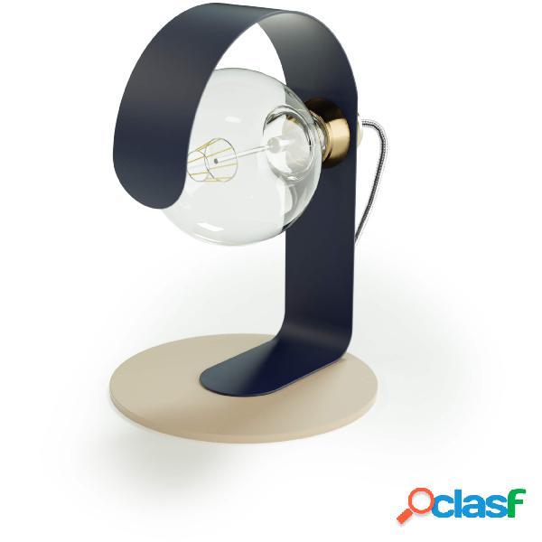 Lampada da tavolo effe in acciaio verniciato, diametro 20x20xh 30 cm - attacco e 27, base cashmere, body blu notte