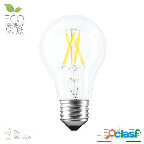Lampadina led a filamento filed goccia duo click color 8w e27 2100-3000-4000k 960 lumens, colore clear