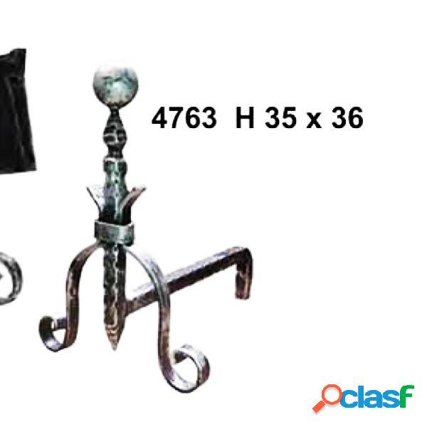 Coppia alari in ferro battuto per camino con palla 36xh35 cm lavorazione artigianale in ferro battuto colore nero