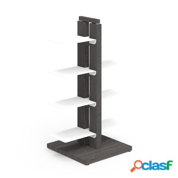 Libreria verticale a colonna doppia zia bice 42x30xh 65 cm con struttura i in legno massello di faggio evaporato colore nero mensole in acciaio smaltato