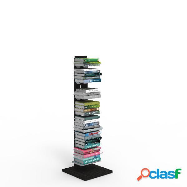 Libreria verticale a colonna zia ortensia 34x34xh 105 cm con struttura i in legno massello di faggio evaporato colore nero mensole in acciaio smaltato