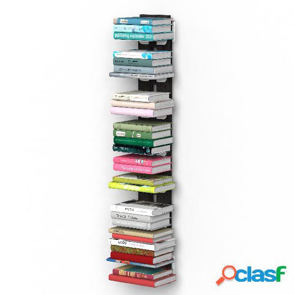 Libreria verticale fissaggio a parete sospesa zia ortenzia 19x20xh 110 cm con struttura in legno massello di faggio evaporato colore nero. mensole in acciaio smaltato