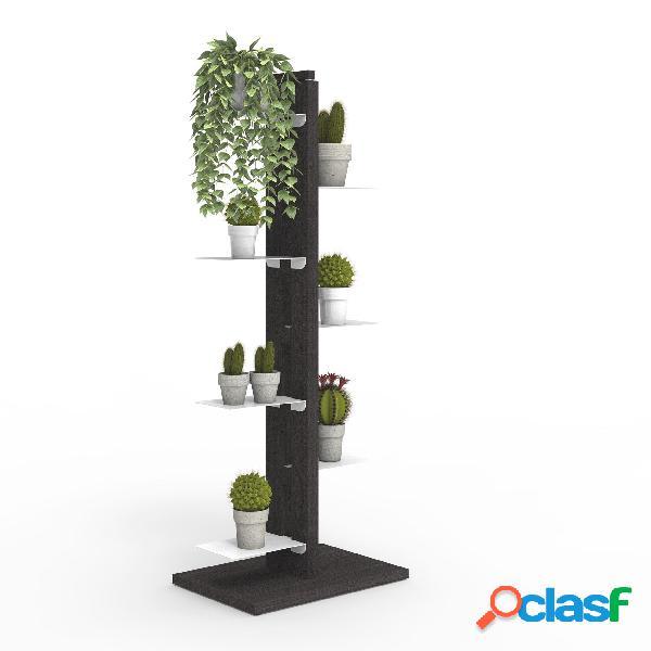 Porta piante a colonna zia flora 42x30xh 110 cm- dist. in altezza min 33-max 44 cm struttura legno massello di faggio evaporato colore nero mensole in acciaio smaltato