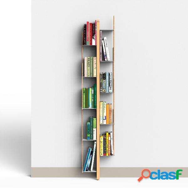 Libreria verticale fissaggio a parete zia veronica 20x32xh 155 cm con struttura e bacchette in legno massello di faggio evaporato colore naturale. mensole in acciaio smaltato