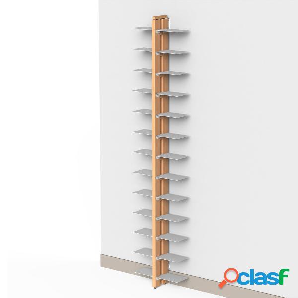 Libreria verticale doppia fissaggio a parete zia bice 17x42xh 200 cm con struttura e bacchette in legno massello di faggio evaporato colore naturale. mensole in acciaio smaltato