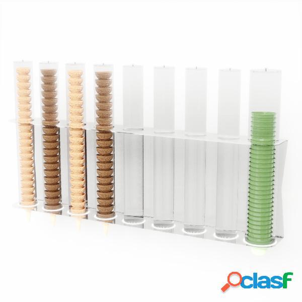 Porta coni e coppette gelato da parete 8 file per coni 1 fila coppette 79,4xh50cm - 94 coni - 30 coppette colore trasparente
