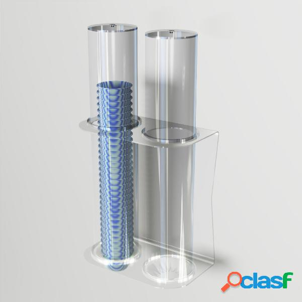 Porta coppette per gelato da parete 2 file 26,8xh50 cm - ø 9,4 cm con valvola ferma coppette in silicone colore trasparente