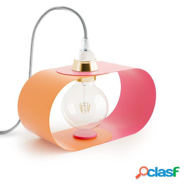 Lampada da tavolo c twin in acciaio verniciato, diametro 10x10xh 20 cm - attacco e 27, colore bicolor tangerine e living coral