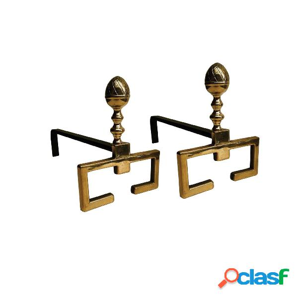 Alari per camino, coppia in ferro in ottone 37xh22 cm lavorazione artigianale in ottone pieno stile moderno made in italy