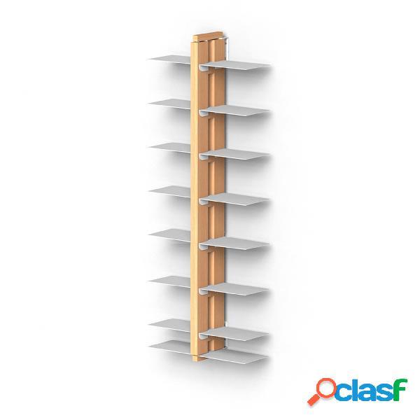 Libreria verticale doppia fissaggio parete sospesa zia bice 17x42xh 110 cm con struttura e bacchette in legno massello di faggio evaporato colore naturale. mensole in acciaio smaltato