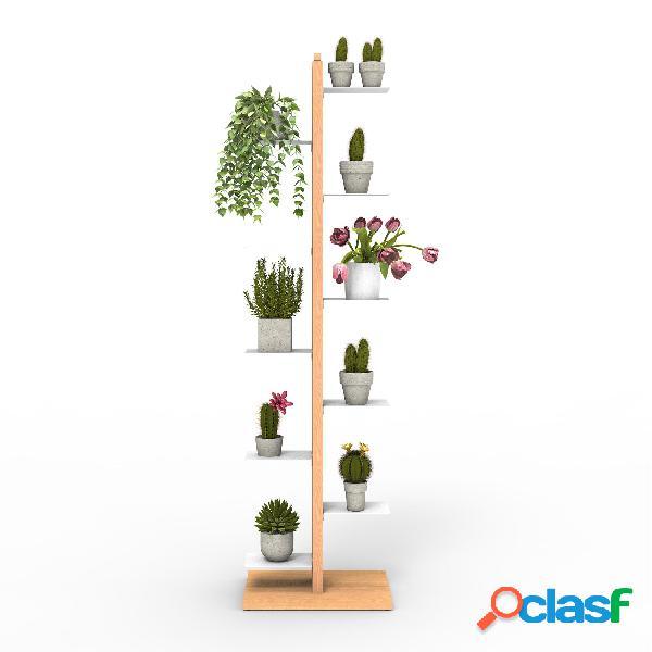 Porta piante a colonna zia flora 42x30xh 155 cm - dis. in altezza min 33-max 44 cm struttura legno massello di faggio evaporato naturale mensole in acciaio smaltato