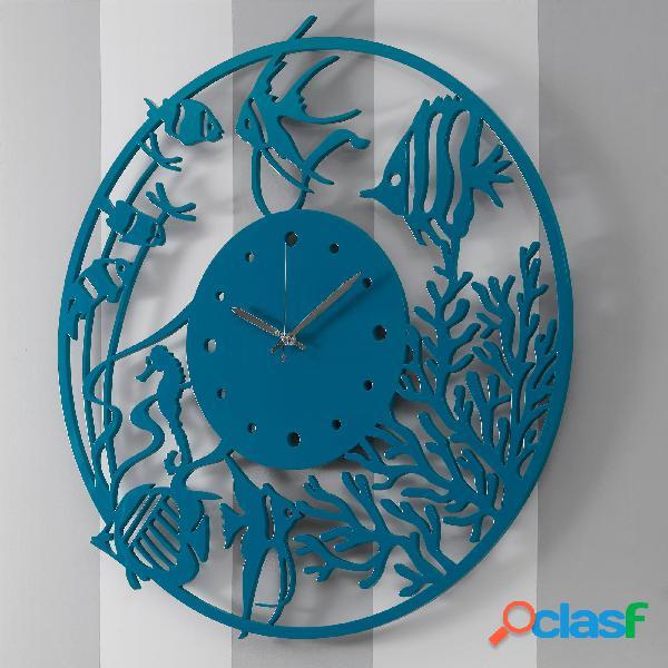 Orologio da parete rotondo diametro 80 cm in legno profondo blu tagliato al laser in legno laccato petrolio