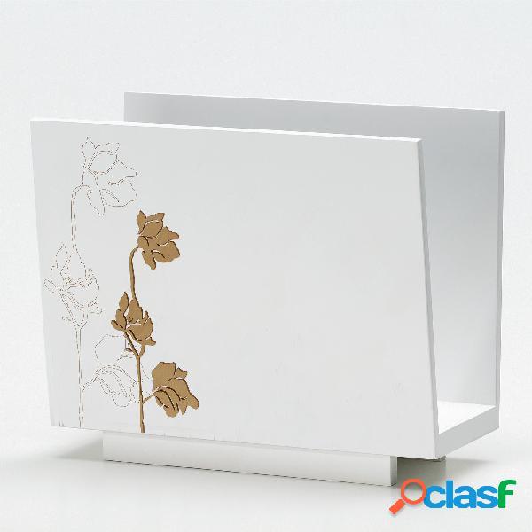 Portariviste rettangolare loto 30x15xh50 cm in legno tagliato al laser colore bianco legno naturale